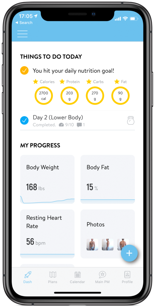 fitlife mobile dashboard for online training